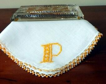 "Hand Embroidered ""P"" Monogram  in Yellow on White Linen Hanky/Handkerchief.  Yellow Crochet Lace Edging."