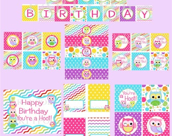 Digital Owl Party Package,  Owl Party Decoration,  Owl Birthday Party, PDF Printable INSTANT DOWNLOAD