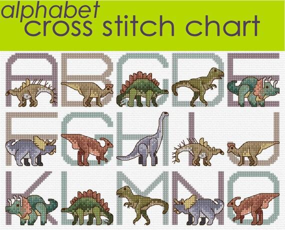 Dinosaur Alphabet Sampler Cross Stitch Chart PDF CHART