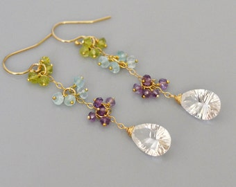 Multi Gem Cascade Earrings - 14k gold filled, Cluster of peridot, aquamarine, amethyst, crystal quartz - dangle, long, end of rainbow