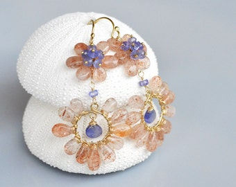 Sunstone Flora Earrings - 14k gold filled wire wrapped, Tanzanite, hand forged, smooth, bloom, color contrast, warm, hoop