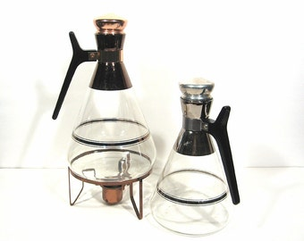 Mid Century Glass Carafe Drinks Pitcher Coffee Pot Warming Stand