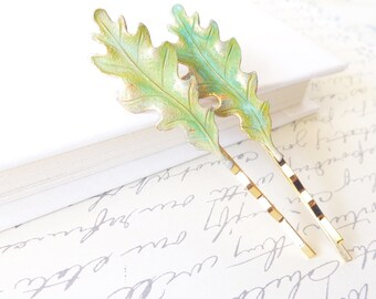 Verdigris Leaf Bobby Pin Set - Green Patina Oak Leaf Hair Pins - Oak Leaf Bobby Pin - Woodland Wedding Hair Pin - Bridal Hair PIn Set