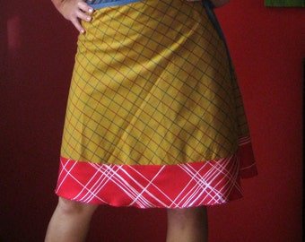 Knee length Wrap Skirt  in mustard and red  (one size fits most small - large)
