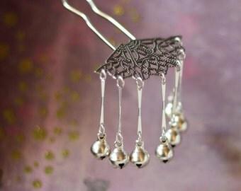 Silver Bells -  Hair Fork Pin Bira Bira Kanzashi Maiko Geisha Japanese Hair Accessory