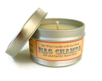 NAG CHAMPA  / 6 oz hand poured soy candles / valentines day candle / Scented Soy Candle Tin