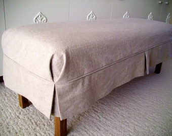 Bench Slipcover Tailored Skirt,  Bedroom Bench Cover,  Dining Room Bench Slipcover