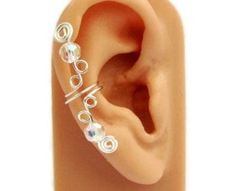 Ear Cuff Small Silver Clear