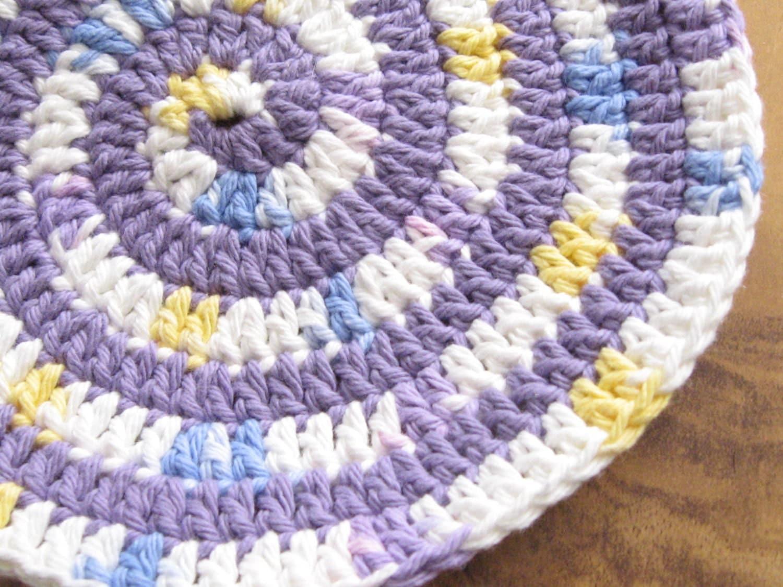 Crochet Cotton Baby Bib Pattern : Handmade Crochet Cotton Baby Bib Swirly Purple Yellow and