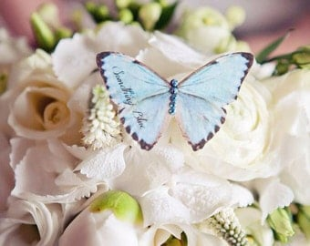 Something Blue silk butterfly clip