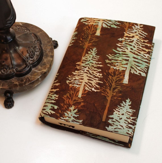 Pine Trees Paperback Book Cover -  Brown Batik Fabric in Large Trade Size