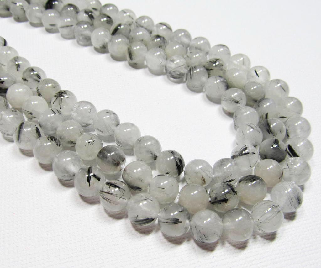 7 5 gemstone strand rutilated quartz 8mm