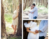 Boho Maternity Dress White Ruffled Bow at Hem Prenatal Photo Patisserie Knee Length Womens Custom Baby Shower