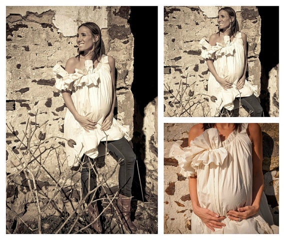 Prenatal Maternity Dress / Rustic / Prairie / Custom Eco Photo Patisserie Handmade Ruffle Bow Ivory Womens