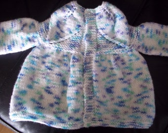 White, Blue Green Lilac Cardigan Sweater Hand Knitted