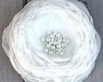 Large White Flower Bridal Hair Clip