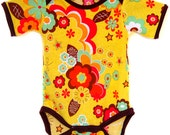 Onesie / Handmade / Bodysuit - Golden Disco Onesie / Brown Trim