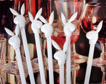 Vintage 1970s Playboy Club Cocktail Stir Sticks6 Set of  / Collectible Barware