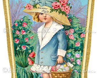 Easter Bonnet Gift Label Digital Download Printable Tags Scrapbook Collage Sheet Print Yourself Image