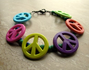 50% OFF Colorful Beaded Peace Sign Bracelet - Multi-Colored, Bright Plastic and Glass Bead Bracelet (Ready to Ship)