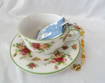 Teabag holder, beaded