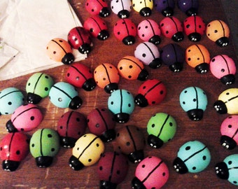 3 Wooden Hand Painted Lady Bug Magnets