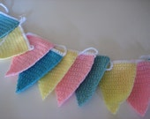 Handmade Crochet Garland Bunting Banner for Baby Shower- Nursey - This one shown is ready to ship
