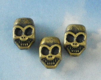 6 Smiling Skull Bronze Beads 3D 3mm Side to Side Hole Goggles Glasses (P325)