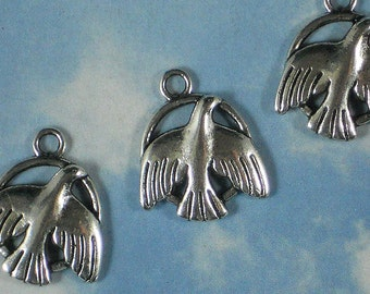 12 Peace Dove Silver Charms 23mm Lead & Nickel Free Metal Alloy Pendants (P745)