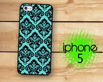 iPhone 5S SE Teal Damask | iPhone 5 Teal Blue Aqua Damask  | Hard Case For iPhone 5 SE Plastic or Rubber Trim Romantic Shabby Chic