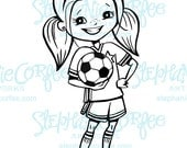 Soccer Girl - B&W Digital Stamp/ Clip Art