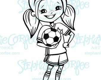Soccer Girl - B&W Digital Stamp/ Clip Art
