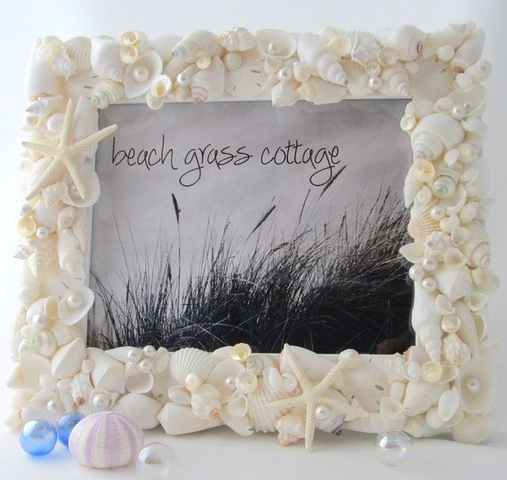 Beach Wedding Gift, Beach Decor Seashell Picture Frame, Beach Wedding Frame, Nautical Decor Shell Frame, Coastal Home Decor,  8x10  #WSF810