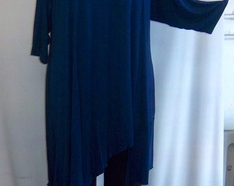 Coco and Juan Plus Size Lagenlook Asymmetric Tunic Top Navy Blue Traveler  Knit Size 2 (fits size 3X,4X)   Bust 60 inches