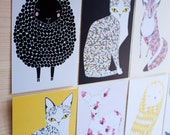 Patterned Animal Post Card Set