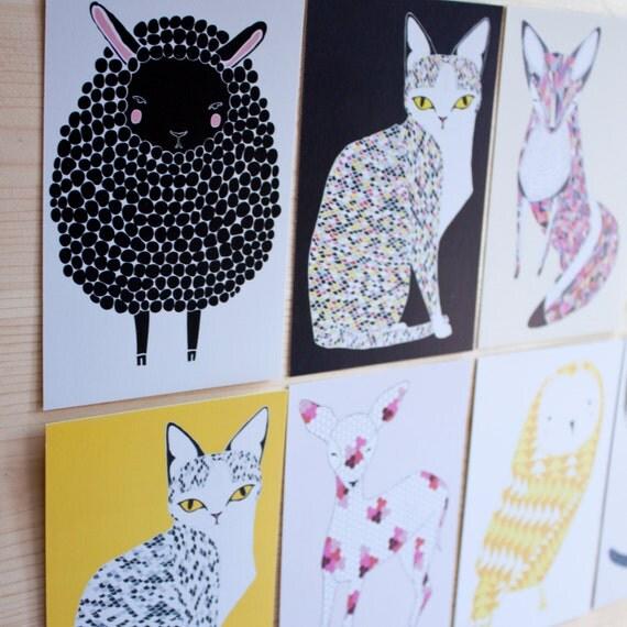 Patterned Animal Post Card Set