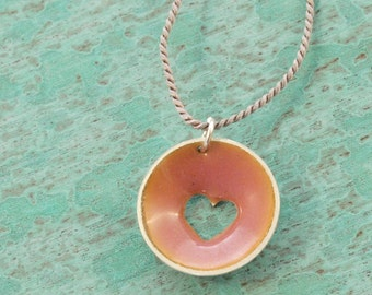 heart charm enameled necklace in sterling silver with lilac pearl cord