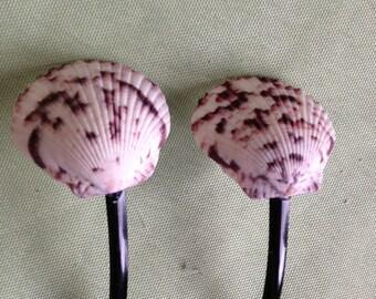 2 Seashell Hair Pin Accessory Wedding Bride Bridesmaid Atlantic Calico White Sea Shells
