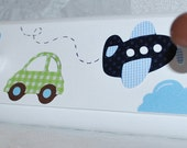 Personalized Coat Rack . Wall Pegs . Airplanes Cars Trucks . Mosaic Transport