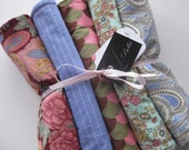 """Baby Burp Cloth Set of 5 """"Tea Party with Aunt Bee"""" Amy Butler Charm Paisley Girl"""