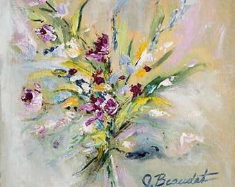 Giclee Print of Original Painting Abstract Floral Acrylic Square Fine Art