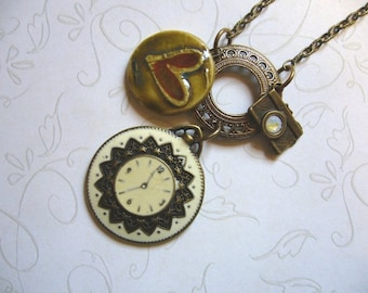 It's About Time Brass and Ceramic Necklace