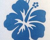 Pretty hibiscus flower decal in metallic electric blue