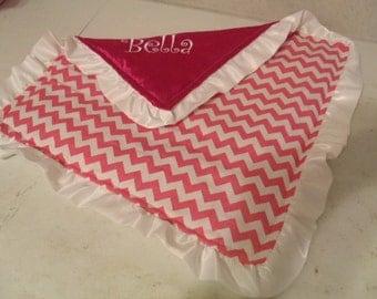 Baby Security Blanket Lovie Lovey Hot Pink White Chevron and White Satin Ruffle Minky 16 x 16