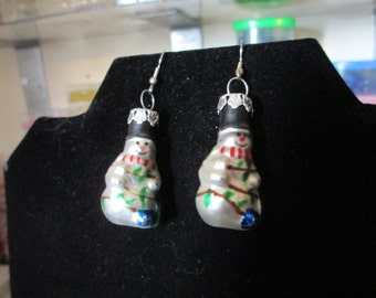 Earrings - Snowman and Lights Ornament
