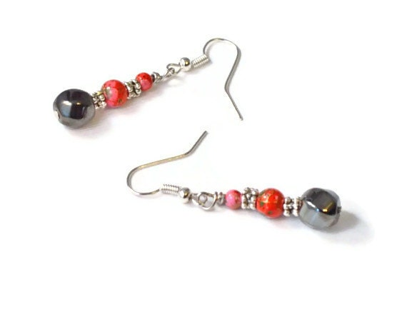 Red and Black Magnetic Hematite Earrings, Health Jewelry, Short Dangle, French Ear Wires