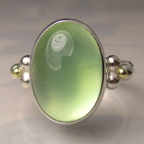 SALE - Prehnite Cocktail Ring - 18k Gold and Sterling Silver - 20% OFF