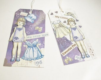 Two Handcrafted Paper Doll Tags