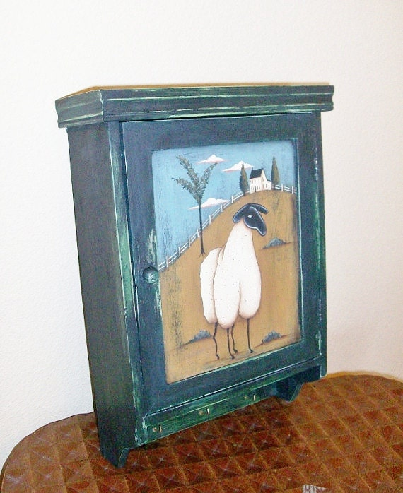 Handpainted Prim Sheep On Key Cabinet, Door Painted On Both Sides, Sheep Coming And Going