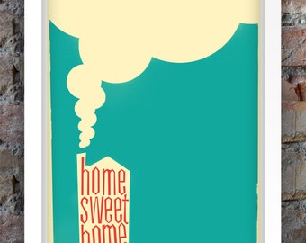 Home Sweet Home Retro Style Print A3